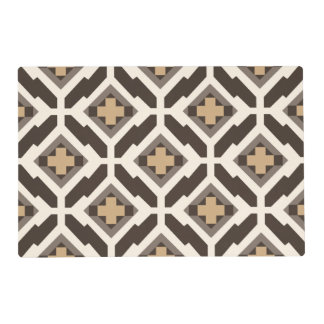 Brown and beige geometric mosaic placemat