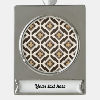 Brown and beige geometric mosaic silver plated banner ornament