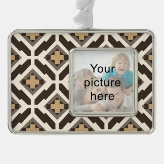Brown and beige geometric mosaic silver plated framed ornament