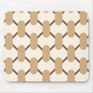Brown and beige oval shapes and lines mouse pad