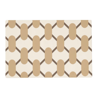 Brown and beige oval shapes and lines placemat