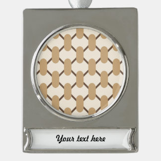 Brown and beige oval shapes and lines silver plated banner ornament