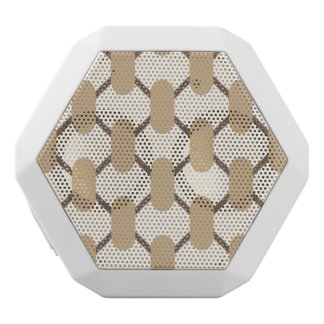 Brown and beige oval shapes and lines white bluetooth speaker