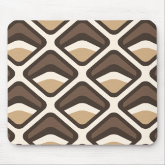 Brown and beige rounded diamonds mouse pad