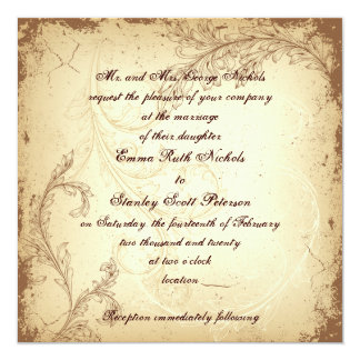 Brown and beige scroll leaf vintage wedding card