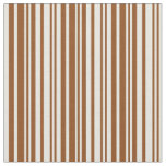 [ Thumbnail: Brown and Beige Striped/Lined Pattern Fabric ]