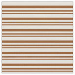 [ Thumbnail: Brown and Beige Stripes/Lines Pattern Fabric ]
