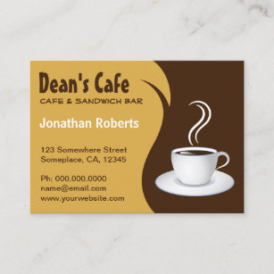 Modern coffee shop business cards zazzle brown and beige stylish coffee shop cafe large business card colourmoves