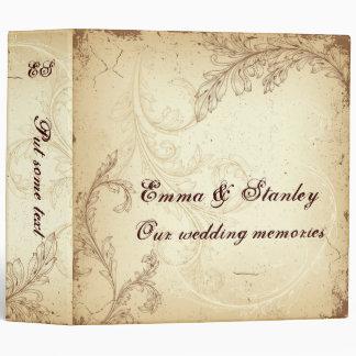 Brown and beige vintage scroll leaf wedding 3 ring binder