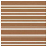 [ Thumbnail: Brown and Bisque Colored Lined/Striped Pattern Fabric ]