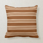 [ Thumbnail: Brown and Bisque Colored Lined/Striped Pattern Throw Pillow ]