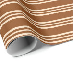 [ Thumbnail: Brown and Bisque Colored Lined/Striped Pattern Wrapping Paper ]