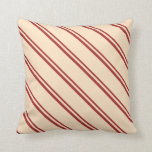 [ Thumbnail: Brown and Bisque Colored Striped/Lined Pattern Throw Pillow ]