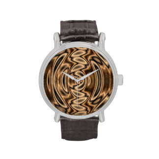 Brown and Black Abstract Swirls Watch