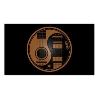 Brown and Black Acoustic Electric Guitars Yin Yang Business Card