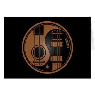 Brown and Black Acoustic Electric Guitars Yin Yang Card