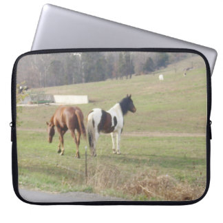 Brown and Black and White Horses on Lap Top Sleeve Laptop Sleeves