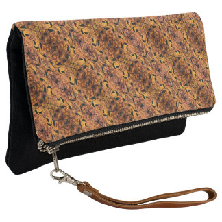 Brown And Black Autumn Leaves Pattern Clutch
