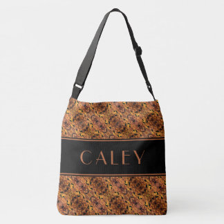 Brown And Black Autumn Leaves Pattern Custom Name Crossbody Bag