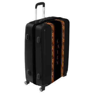 Brown And Black Autumn Leaves Pattern Custom Name Luggage