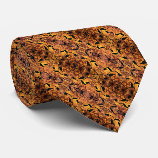 Brown And Black Autumn Leaves Pattern Neck Tie