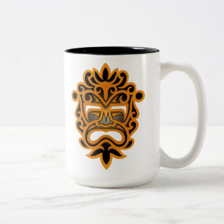 Brown and Black Aztec Mask Two-Tone Coffee Mug