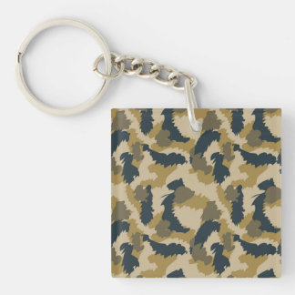 Brown and Black Camouflage Keychain