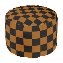 Brown and Black Checkered Pouf