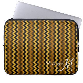 Brown and Black Chevron Zigzag Custom Monogram Laptop Computer Sleeves