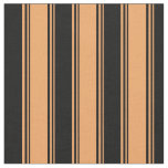 [ Thumbnail: Brown and Black Colored Pattern of Stripes Fabric ]