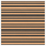 [ Thumbnail: Brown and Black Colored Striped/Lined Pattern Fabric ]