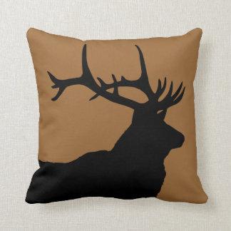 Brown and Black Elk Head Throw Pillow