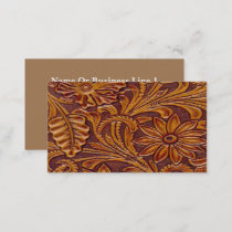 Brown And Black Floral Leather Print Western Business Card