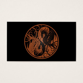 Brown and Black Flying Yin Yang Dragons Business Card