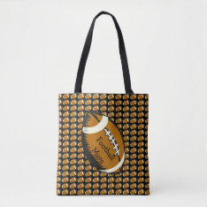 Brown And Black Football Mom Sports Tote Bag at Zazzle
