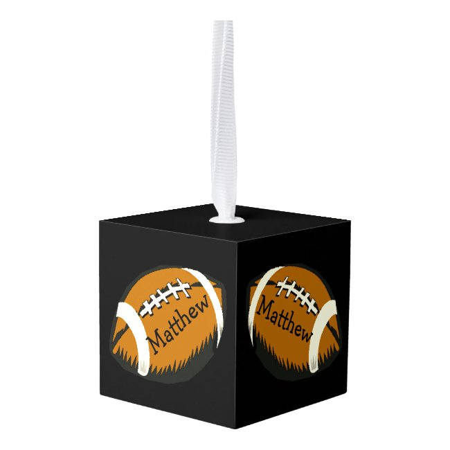 Brown and Black Football Sports Cube Ornament