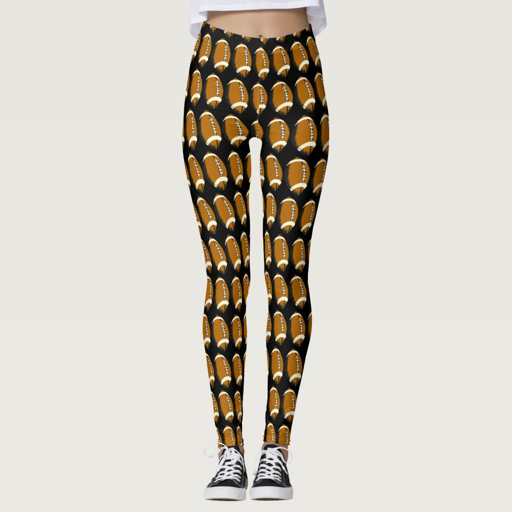 Brown and Black Football Sports Leggings