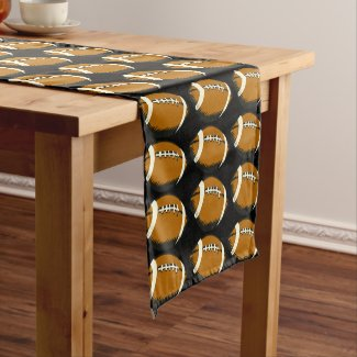 Brown and Black Football Sports Table Runner