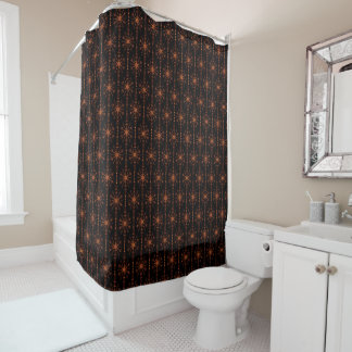 Brown And Black Geometric Star Patterned Shower Curtain