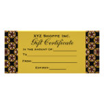 Brown and Black Gift Certificate Personalized Rack Card