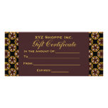 Brown and Black Gift Certificate Customized Rack Card