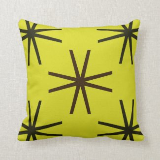 Brown and Black on Yellow Reversible Pattern Pillows
