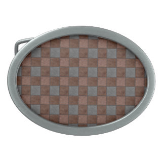 Brown and Black Plaid Check Belt Buckle