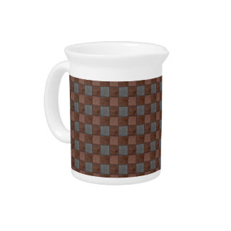 Brown and Black Plaid Check Pitcher