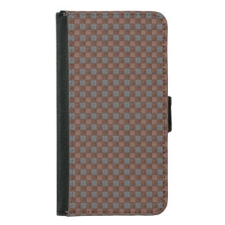 Brown and Black Plaid Check S5 Wallet Case