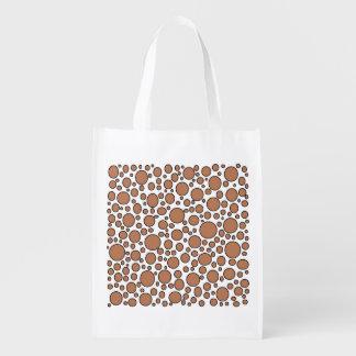 Brown and Black Polka Dots Reusable Grocery Bag