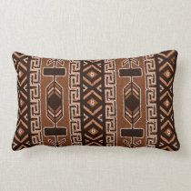 Brown And Black Southwest Tribal Aztec Pattern Lumbar Pillow