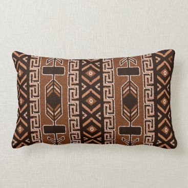 Aztec Themed Brown And Black Southwest Tribal Aztec Pattern Lumbar Pillow