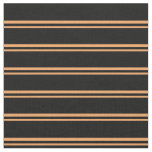 [ Thumbnail: Brown and Black Stripes Fabric ]