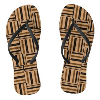 Brown and Black Stripes Faux Wood Flip Flops